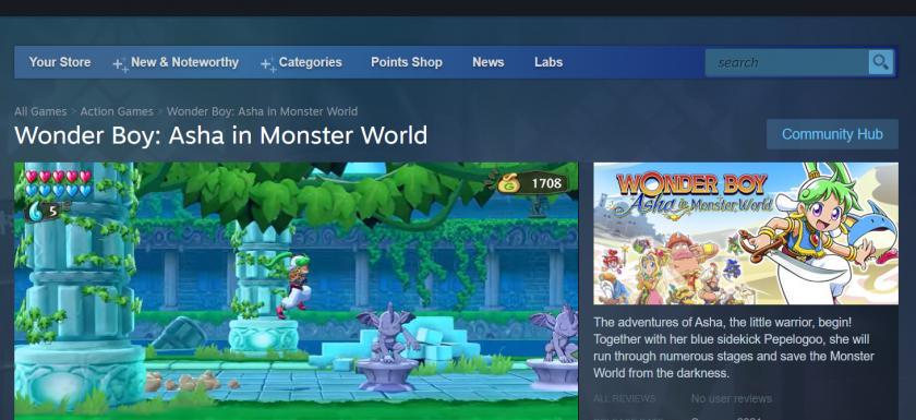 wonder boy asha in monster world steam